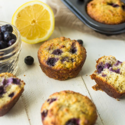 Lemon Poppyseed Blueberry Muffins {Paleo, GF, Low Fat}