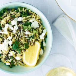 Lemon risoni with lentils and goat's cheese