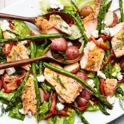 Lemon-Roasted Salmon With Escarole, Asparagus, and Potatoes