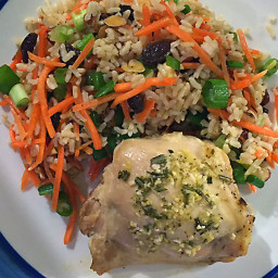 Lemon-Rosemary Roasted Chicken Thighs with Carrot and Brown Rice Salad