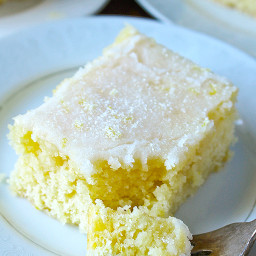 Lemon Sheet Cake with Crunchy Topping