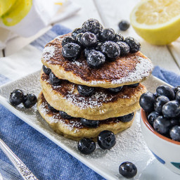 Lemon Vanilla Pancakes with Fresh Blueberries