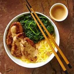 Lemongrass Pork and Spaghetti Squash Noodle Bowl with Peanut Sauce