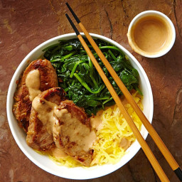 Lemongrass Pork and Spaghetti Squash Noodle Bowl with Peanut Sauce