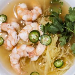 Lemongrass Shrimp Soup with Spaghetti Squash