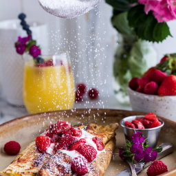 Lemon Ricotta Cheese Stuffed French Toast Crepes with Vanilla Stewed Strawb