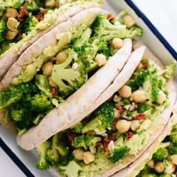 Broccoli, Chickpea & Avocado Pita Sandwiches