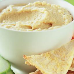 Lemony Hummus with Seasoned Pita Chips