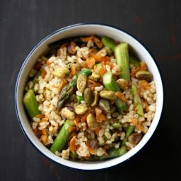 Lemony Rice with Asparagus & Pistachios