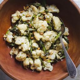 Lemony Roasted Asparagus and Cauliflower Salad