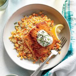 Lemony Roasted Salmon with White Wine Couscous