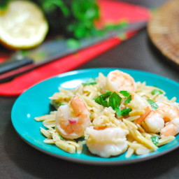 Lemony Shrimp on Orzo