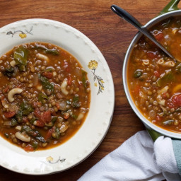 Lentil and Macaroni Soup With Swiss Chard