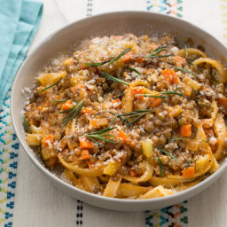 Lentil Bolognese with Fettuccine Pasta and Crispy Rosemary
