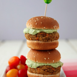 Lentil-Chickpea Burgers with Avocado Yogurt Sauce