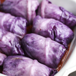 Lentil Stuffed Red Cabbage Rolls