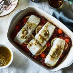 Lentil, Tomato and amp; Olive Baked Cod with Lemon-Caper Vinaigrette