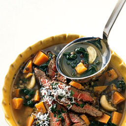 Lentil and Roasted Garlic Soup with Seared Steak