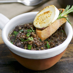 Lentils with Goat Cheese and Rosemary Bruschetta