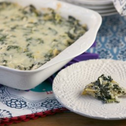 Lightened Hot Four Cheese Spinach Artichoke Dip {Low Calorie, Low Fat}