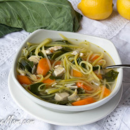 Lightened Up Chicken Kale Zoodle Soup {Low Carb and Gluten Free}
