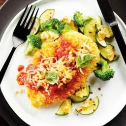 Lightened-Up Chicken Parmigiana With Garlicky Veggies