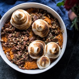Lighter Baked Sweet Potato Casserole with Maple Toasted Marshmallow