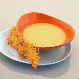 Lima Bean Soup with Parmesan Bacon Crisp