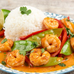 Lime and Coconut Shrimp with Red Curry Sauce
