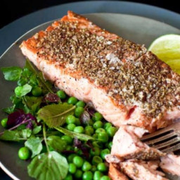 Lime and sumac salmon with mint and pea salad