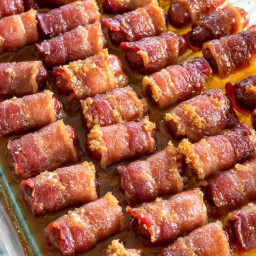 Little Smokies Wrapped in Bacon with Brown Sugar