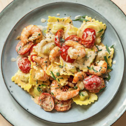 Lobster Ravioli and Shrimp with Tomatoes and Tarragon Cream Sauce