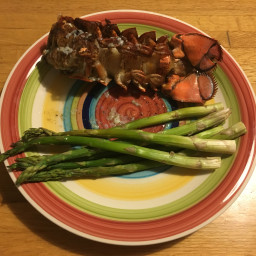 Lobster tail with asparagus
