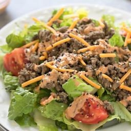Low Carb Cheeseburger Salad with Big Mac Sauce