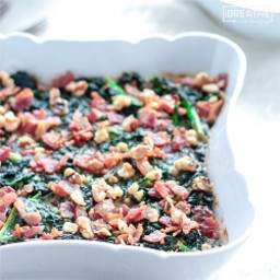 Low Carb Creamed Kale with Bacon and Walnuts