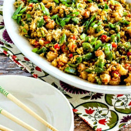 Low-Carb Fried Cauliflower Rice with Shrimp, Sugar Snap Peas, and Red Peppe