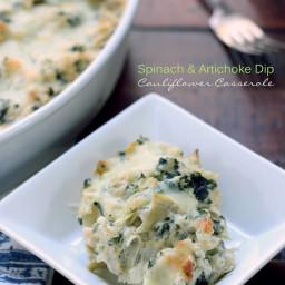 Low Carb Spinach & Artichoke Dip Cauliflower Casserole