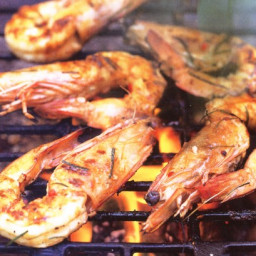 Low-fat barbecued prawns with lime, chilli and coriander