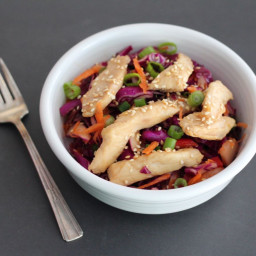 Low-FODMAP Asian Sesame Coleslaw With Teriyaki Chicken