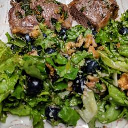 Lucious Lamb Loin Chops & Blueberry Walnut Salad