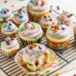 M and M Cupcakes with Chocolate Whipped Buttercream