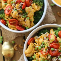 Mac N Peas Bowls with Cheezy Tahini Sauce