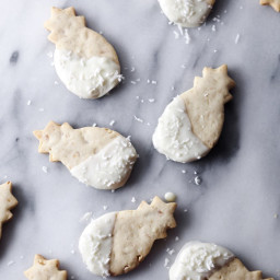 Macadamia Nut Shortbread Cookies Dipped in White Chocolate (gluten-free) (H