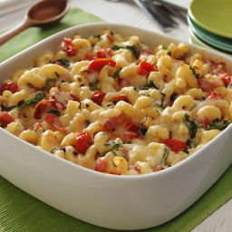 Macaroni and Cheese with Roasted Tomatoes, Bacon and Basil