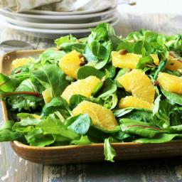 Mache and Orange Salad with Coriander Pumpkin Seeds