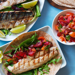 Mackerel salsa wrap