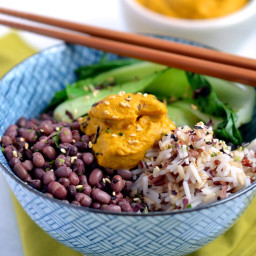 Macro Bowl with Carrot-Ginger-Almond Sauce