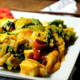 Macro Tofu and Veggies in Kabocha Squash Sauce