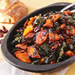 Make-Ahead Roasted Squash and Kale Salad With Spiced Nuts, Cranberries, and