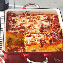 Make-Ahead Sausage, Mushroom, and Polenta Bake